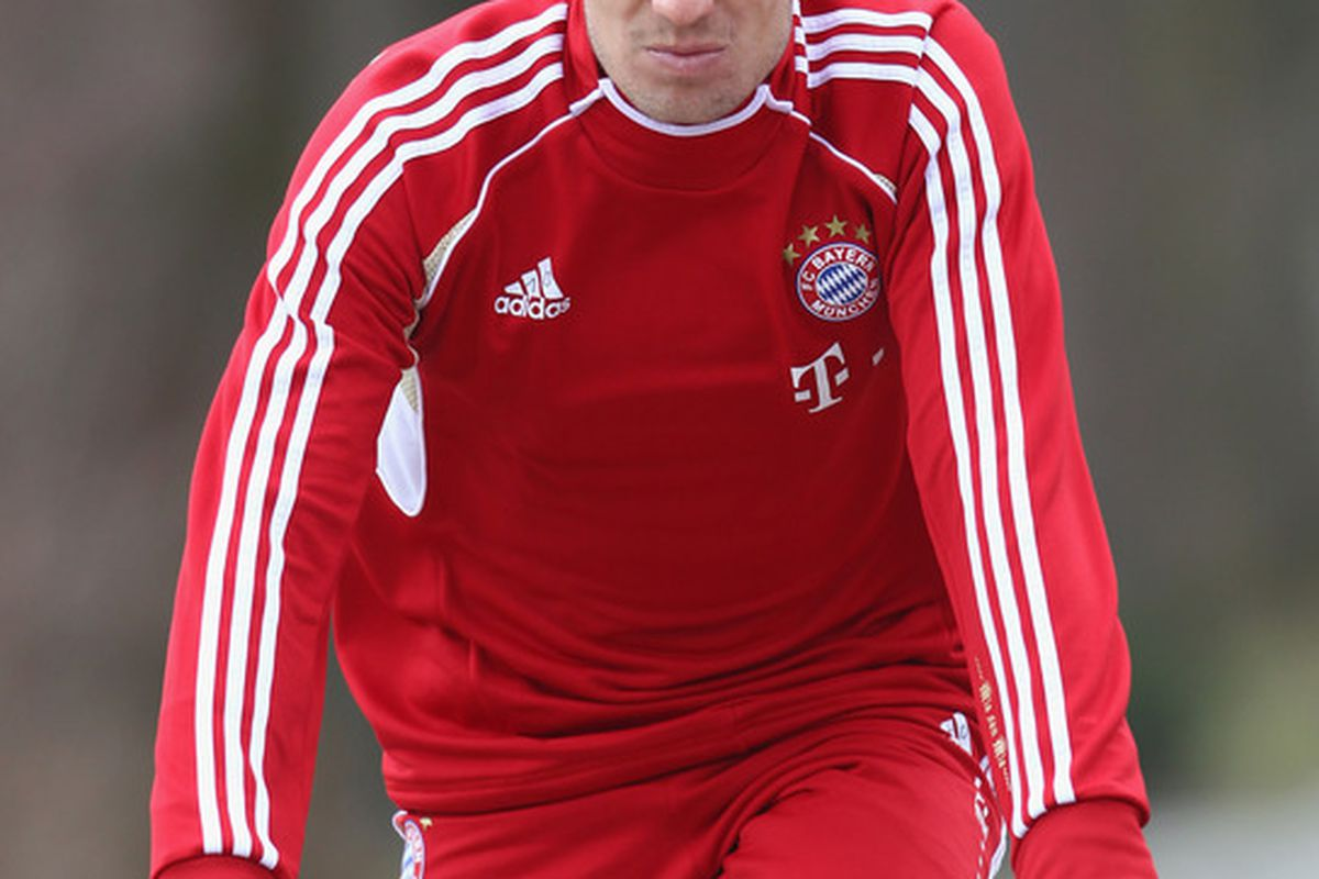 MUNICH, GERMANY - MARCH 04:  Arjen Robben of Bayern Muenchen rides a bikes during a training session on March 4, 2012 in Munich, Germany.  (Photo by Alexandra Beier/Bongarts/Getty Images)