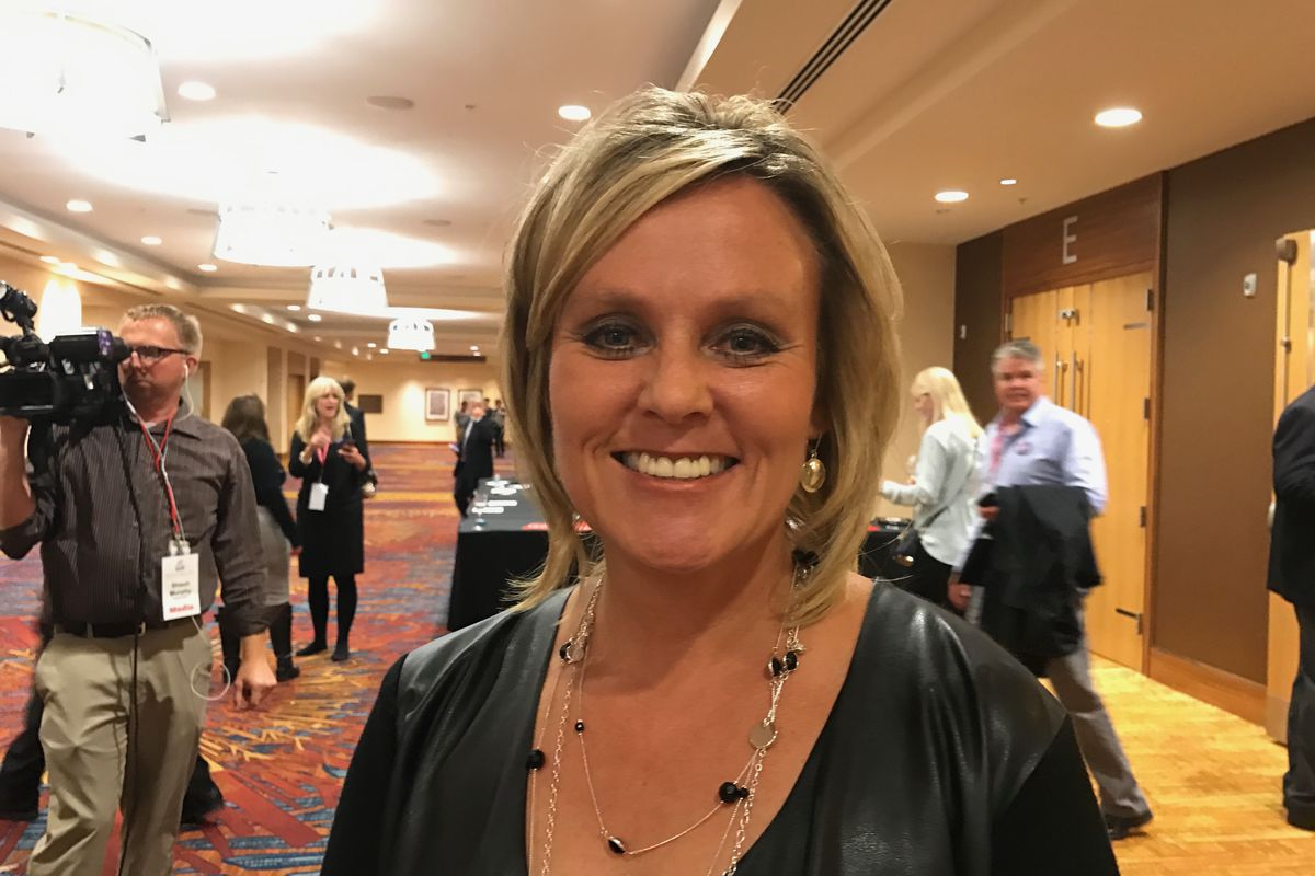 Jennifer McCormick right after the 2016 race for Indiana state superintendent was called in her favor.