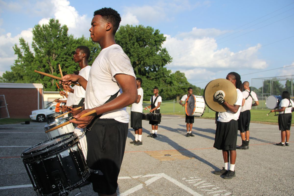 Drumline practice for the Fairley High School marching band in Memphis