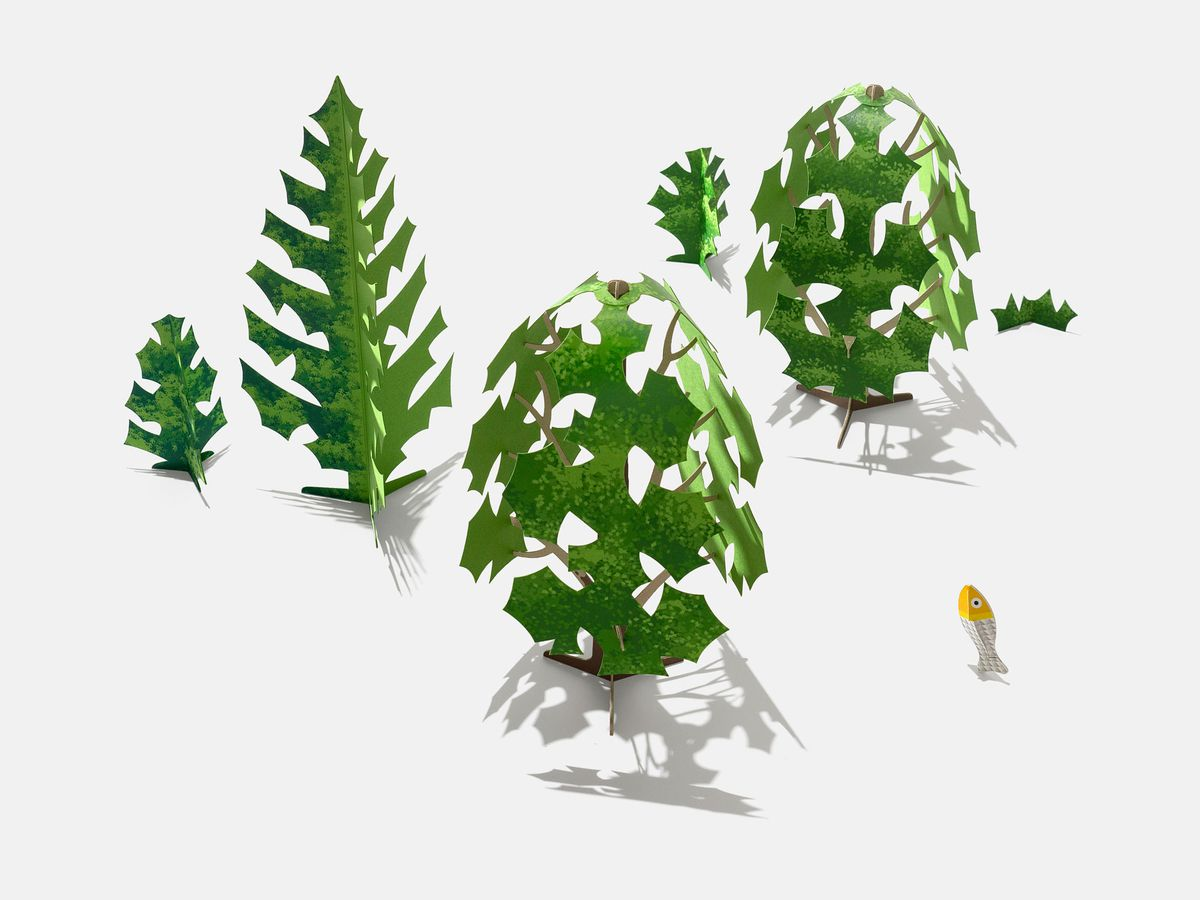 Trees made from folded paper.