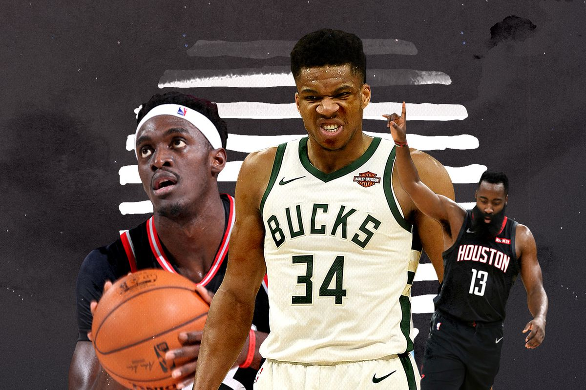 A collage of Pascal Siakam (left), Giannis Antetokounmpo (center), and James Harden (right)