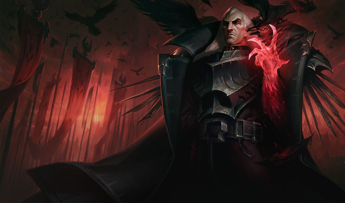 Base skin Swain menacingly holds up his glowing red hand