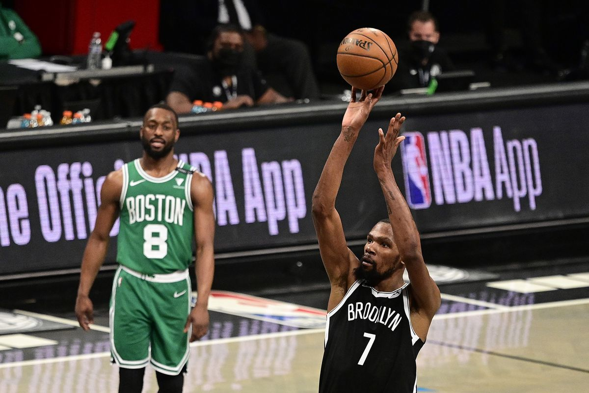 Kevin Durant #7 of the Brooklyn Nets attempts a free throw against the Boston Celtics in Game One of the First Round of the 2021 NBA Playoffs at Barclays Center at Barclays Center on May 22, 2021 in New York City.