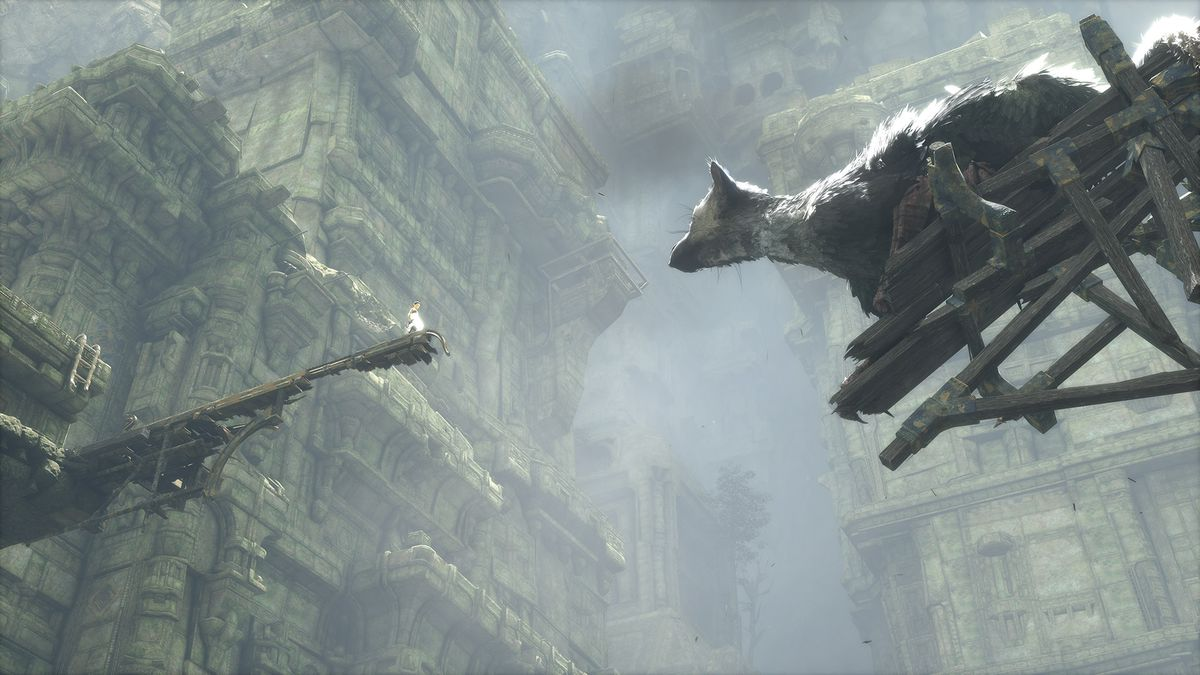 The Last Guardian - Trico and boy looking across a gap