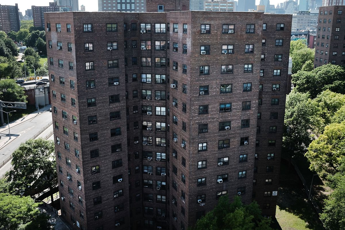 A high-rise public housing building.