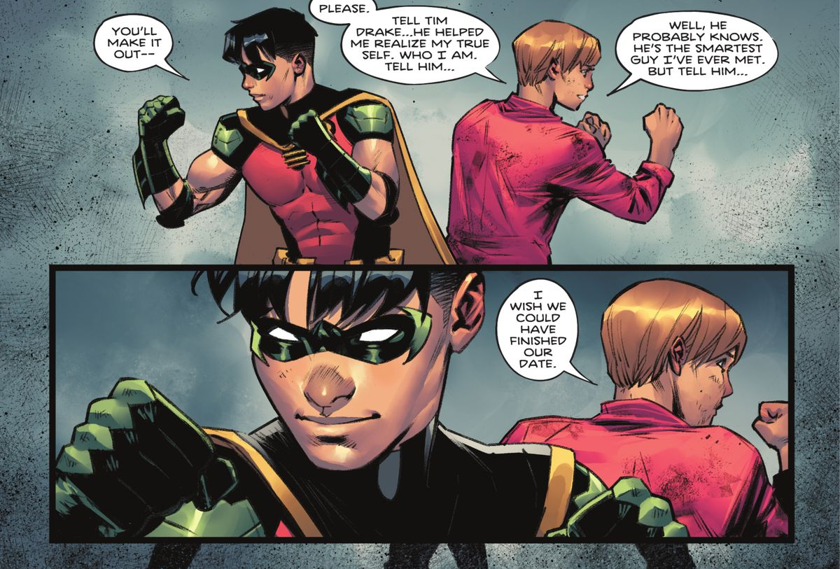 """Tim Drake / Robin goes back to back with his old friend Bernard.  """"He probably knows.  He's the smartest guy I've ever met.  But tell him ..."""