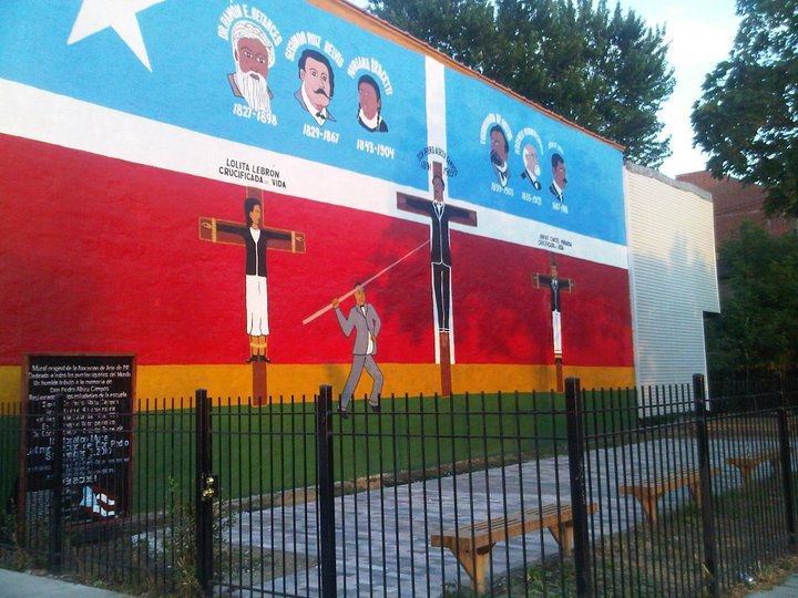 """""""The Crucifixion of Don Pedro Albizu Campos,"""" a mural painted by the Puerto Rican Art Association — José Bermudez, Mario Galán and Héctor Rosario — at North and Artesian, is among the oldest murals in the United States."""