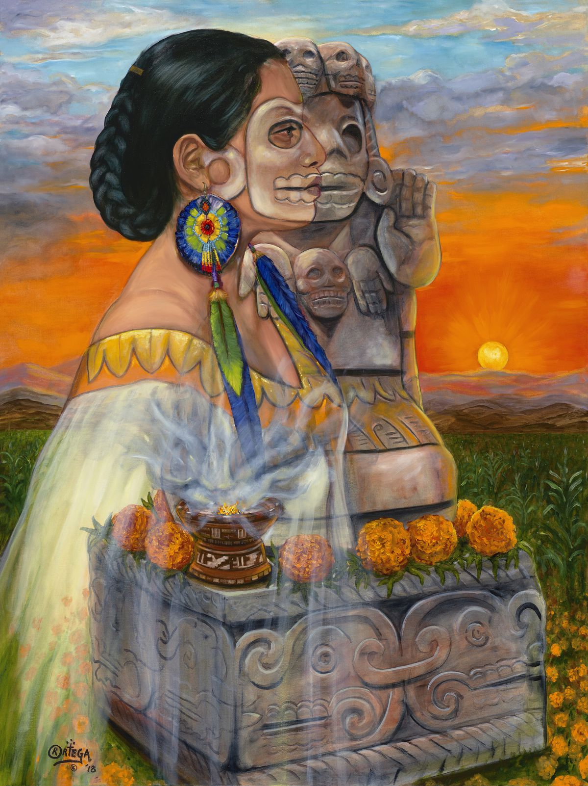 Rick Ortega,Espíritu de Cihuateteo, 2018, oil on canvas, courtesy of the artist