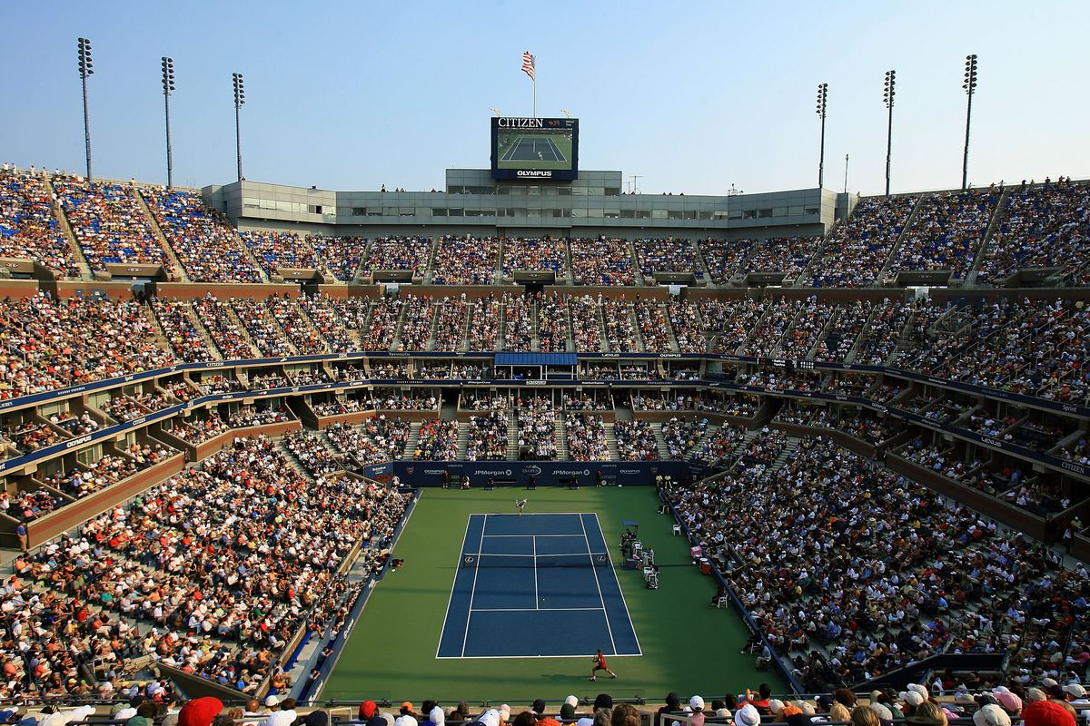 A general view of Arthur Ashe Stadium during the men's semi-final between Mikhail Youzhny of Russia and Andy Roddick during the men's semi-final at the U.S. Open at the USTA Billie Jean King National Tennis Center in Flushing Meadows Corona Park on September 9, 2006 in the Flushing neighborhood of the Queens borough of New York City.