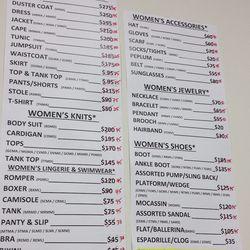 Women's RTW prices as of last night (2/5)