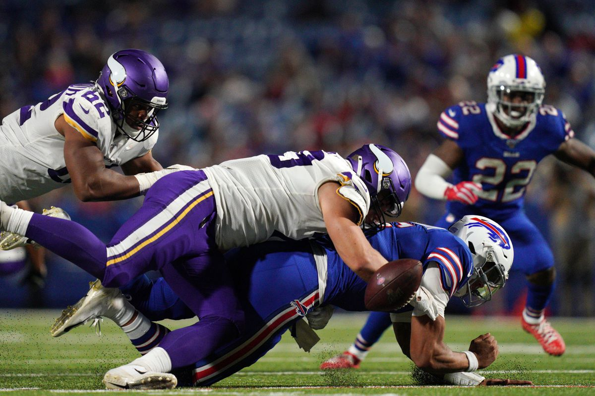 Minnesota Vikings defensive end Karter Schult sacked Buffalo Bills quarterback Tyree Jackson as Minnesota Vikings defensive end Anree Saint-Amour recovered the ball for a turnover in the second half.