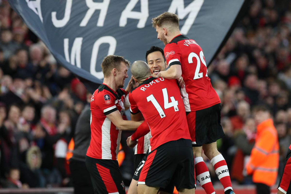 Will Smallbone and Jake Vokins celebrating the former's goal for Southampton against Huddersfield Town in the FA Cup