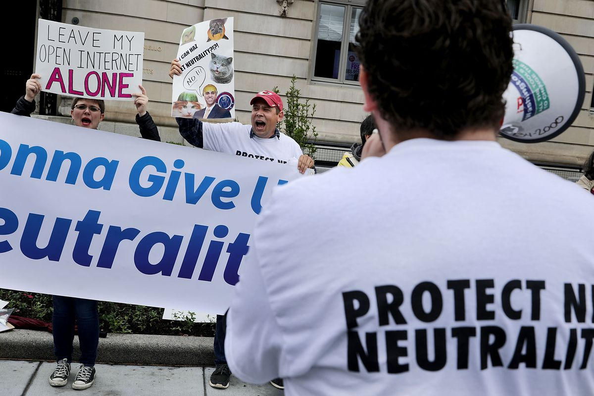 Image result for Images of Protest against trump's scrap of net neutrality