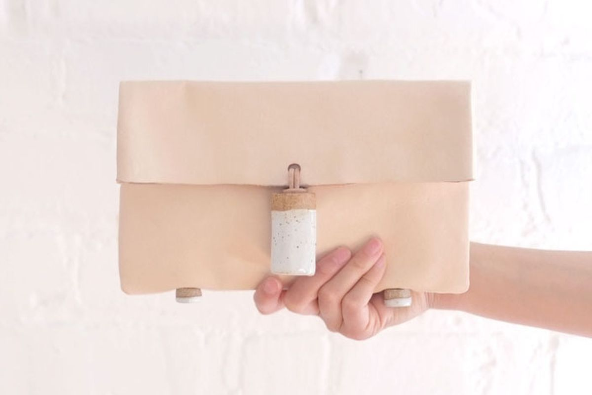 "Jujumade clutch bag, <a href=""http://shop.jujumade.com/product/clutch-bag"">$185</a>."