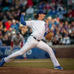 Chicago Cubs starting pitcher Jeff Samardzija throws against the St. Louis Cardinals in the first inning of a baseball game in Chicago on Tuesday, April 24, 2012.