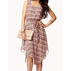 """<b>Forever 21</b> <a href=""""http://www.forever21.com/Product/Product.aspx?BR=f21&Category=dress_midi-maxi-dresses&ProductID=2074911861&VariantID="""">Tribal Print Sleeveless Dress</a> in Cream/Rust, $24.80"""