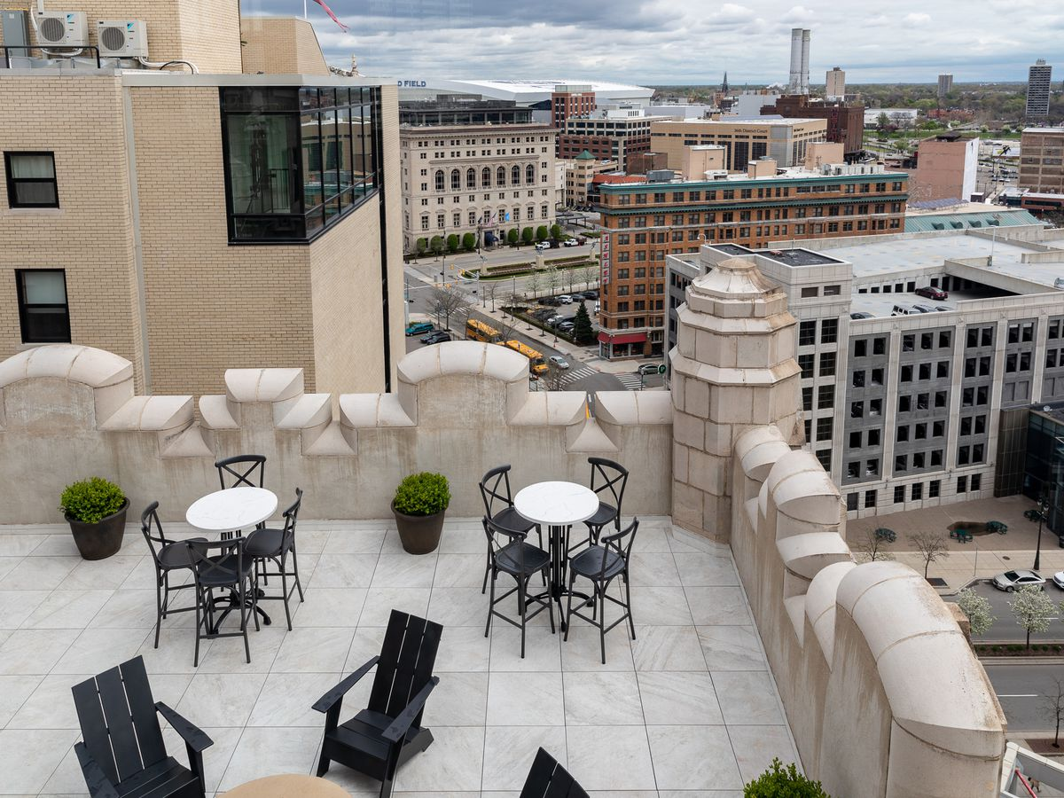 A view from a terrace at the Monarch Club looking over downtown Detroit on a cloudy day.