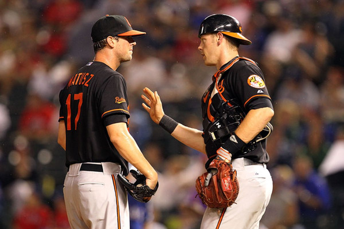 He won't have Matt Wieters to calm him down today, but Brian Matusz needs to demonstrate that he might some day be a decent pitcher again anyway.  (Photo by Ronald Martinez/Getty Images)