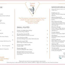 Franklin Social lunch menu