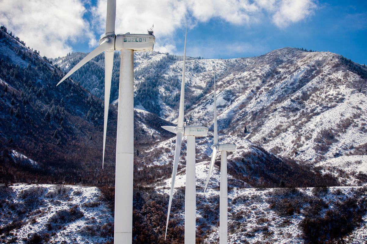 Wind turbines stand at the mouth of Spanish Fork Canyon in Spanish Fork on Thursday, Feb. 18, 2021.