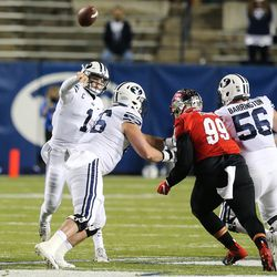 Brigham Young Cougars quarterback Zach Wilson (1) passes the ball against Western Kentucky Hilltoppers defense during an NCAA football game at LaVell Edwards Stadium in Provo on Saturday, Oct. 31, 2020.