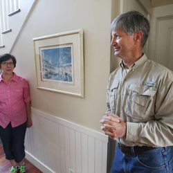 Veldon Sorensen talks with his wife Diane at their home in Salt Lake City on Sept. 13. Sorensen is retired from Bayer but still consults for the company and others about bees.