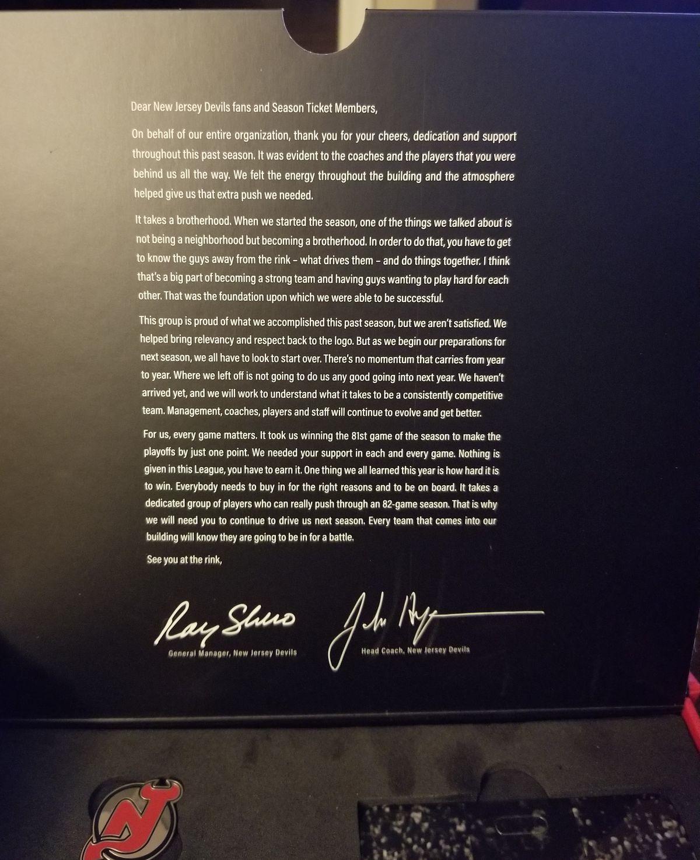 2018-19 Devils STH Box Inside Second Flap