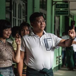 Voters at a polling station during Myanmar's first free and fair election on November 8, 2015.