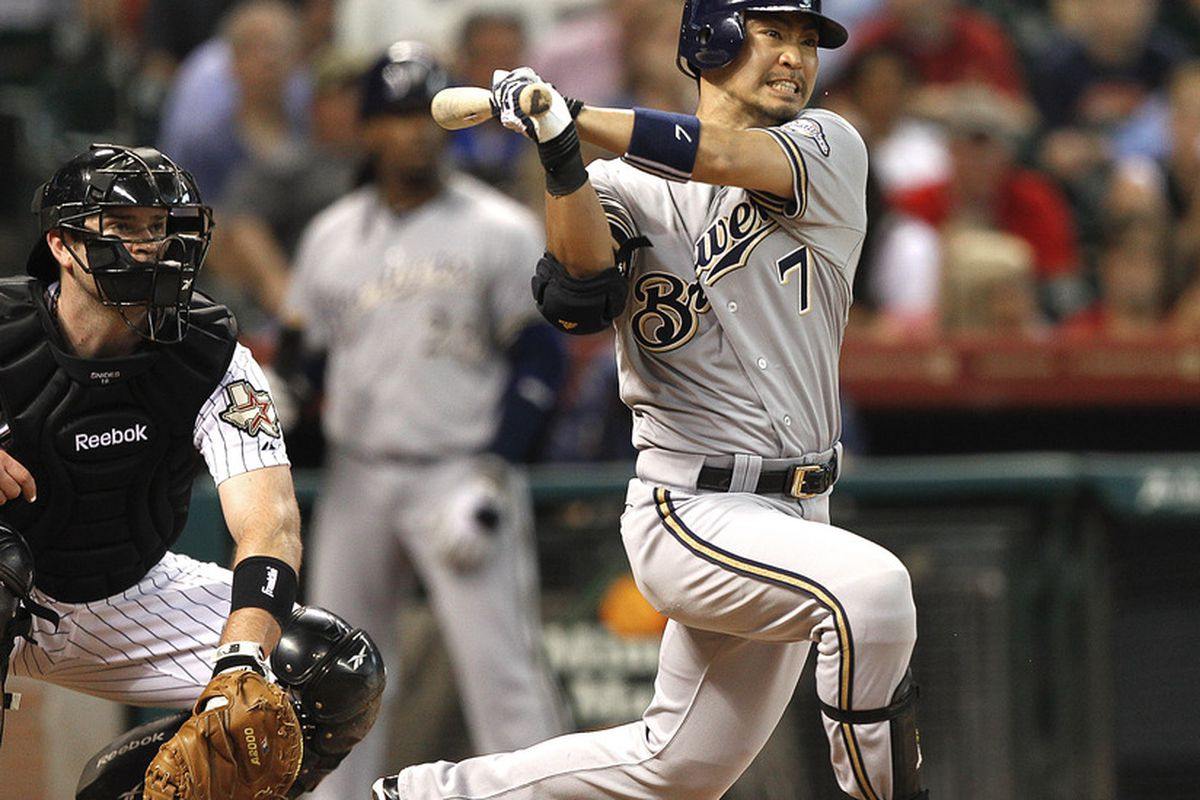 HOUSTON - MAY 17:  Norichika Aoki #7 of the Milwaukee Brewers doubles in the third inning against the Houston Astros at Minute Maid Park on May 17, 2012 in Houston, Texas.  (Photo by Bob Levey/Getty Images)