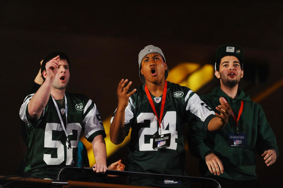 New York Jets fans react to the selection of defensive end Quinton Coples (North Carolina) as the 16th overall pick in the 2012 NFL Draft at Radio City Music Hall. James Lang-US PRESSWIRE