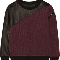 """Leather-paneled quilted jersey sweatshirt, $65 (was $510) via <a href=""""http://www.theoutnet.com/en-US/"""">The Outnet</a>"""