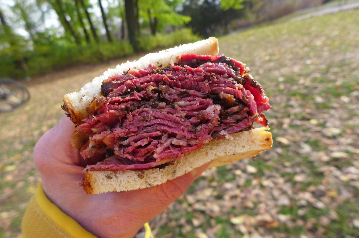 A hand with a yellow sleeve holds a half pastrami sandwich aloft with a forest background.