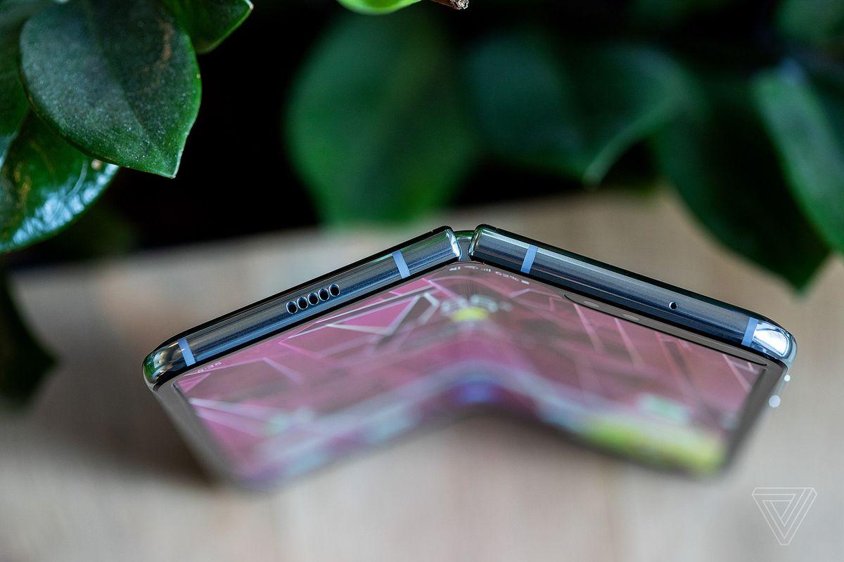 Samsung Galaxy Fold, slightly folded, top-down view