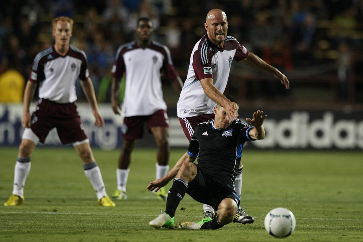 SANTA CLARA, CA - AUGUST 25: Conor Casey #9 of Colorado Rapids throws it on the GROUND (Photo by Tony Medina/Getty Images)