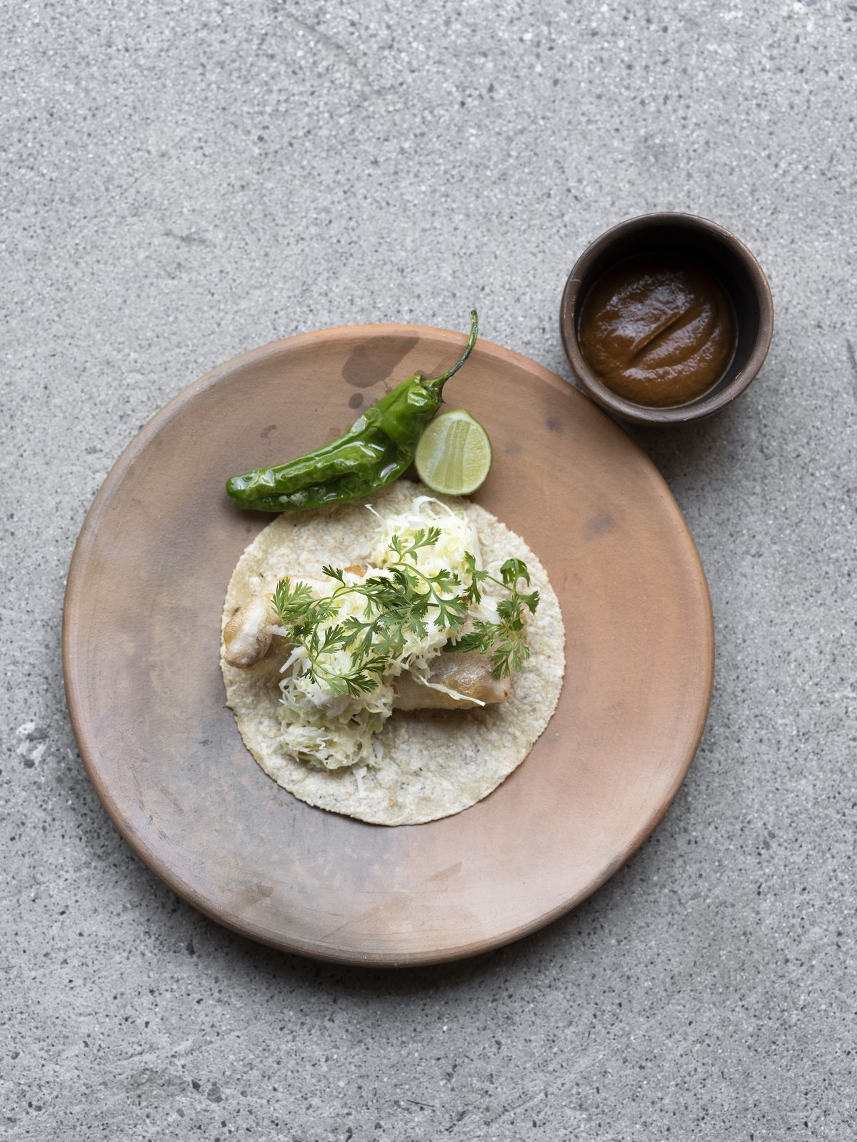 Fried fish taco on a pale brown plate with concrete background.