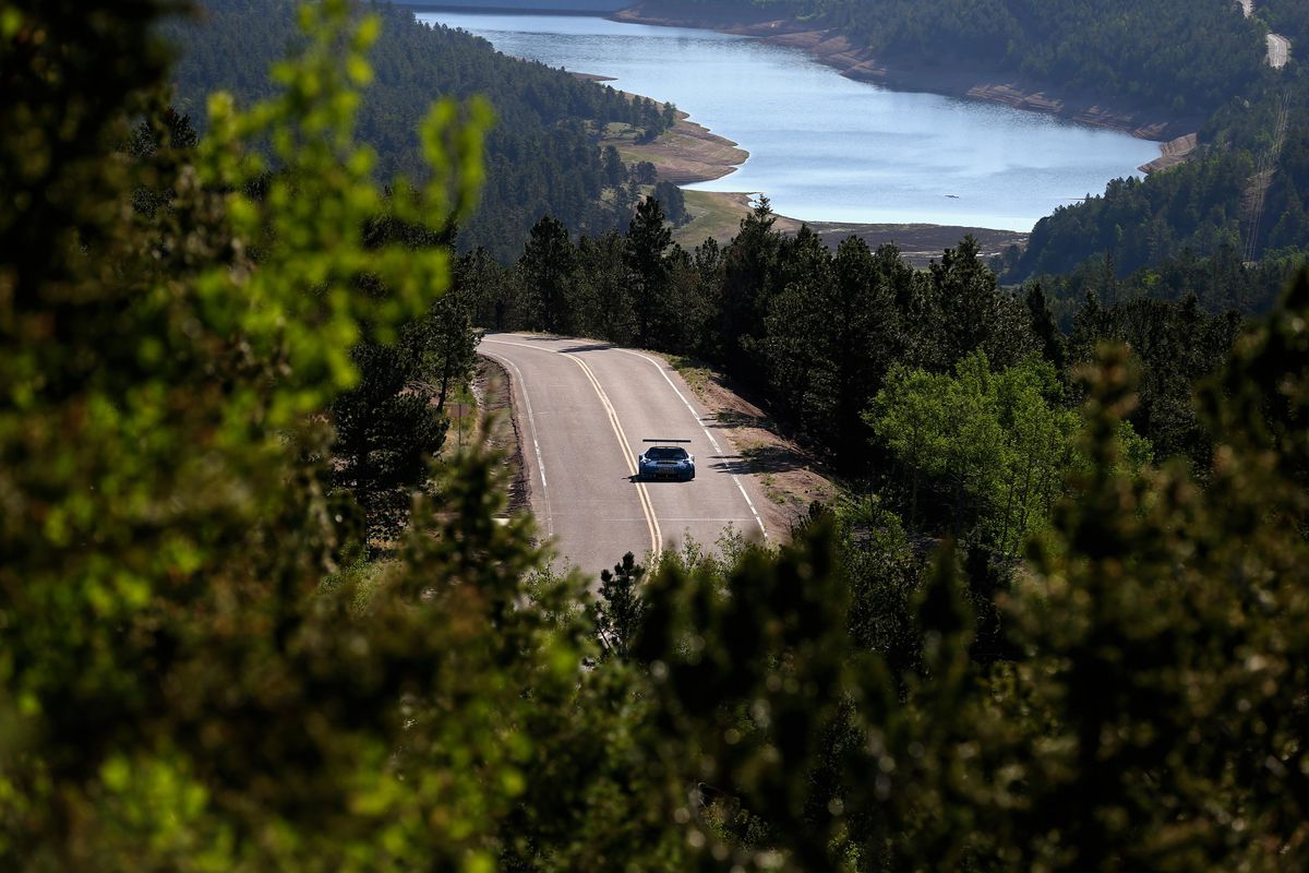 Jeff MacPherson races up the mountain during qualifying for the Pikes Peak International Hill Climb.