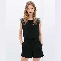 """<strong>Zara</strong> Short Jumpsuit with Appliqués, <a href=""""http://www.zara.com/us/en/woman/dresses/short-jumpsuit-with-appliqu%C3%A9s-c358003p1868028.html"""">$89.90</a>"""