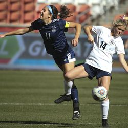 Skyline's Ani Jensen and Bonneville's Maddie Callahan compete in the 5A championship game at Rio Tinto Stadium in Sandy on Friday, Oct. 25, 2019.