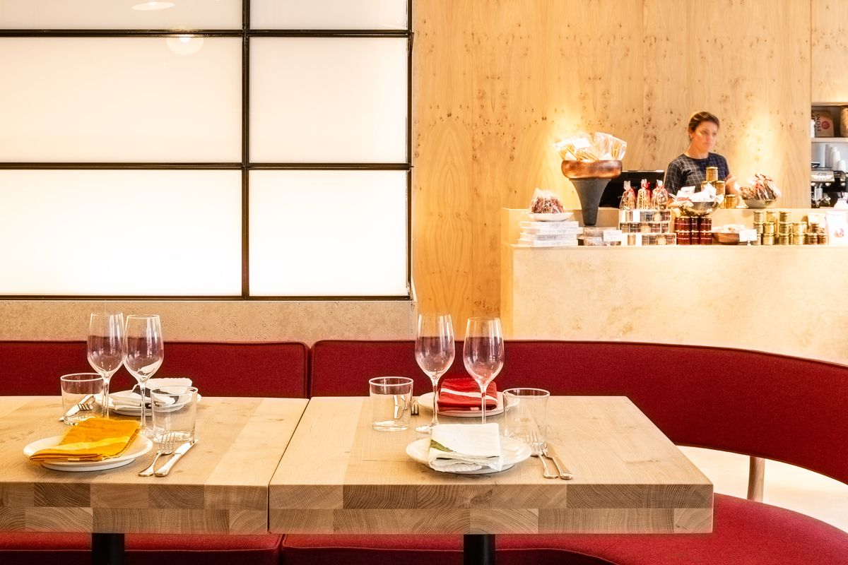 A table setting with wineglasses and napkins at Yottam Ottolenghi's new restaurant, Rovi