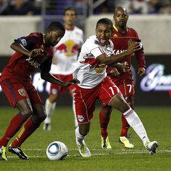 HARRISON, NJ - SEPTEMBER 21:  Juan Agudelo #17 of the New York Red Bulls and Arturo A;lvarez #74 of Real Salt Lake fight for the ball during their game at Red Bull Arena on September 21, 2011 in Harrison, New Jersey.  (Photo by Jeff Zelevansky/Getty Images)