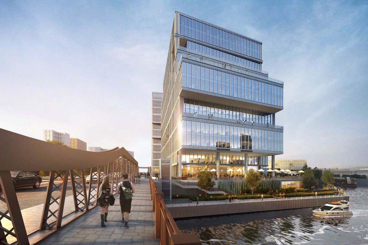 A rendering of a new Chicago Avenue bridge with people crossing at the end of work day to a glassy, new tower on a waterfront site.