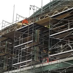 Closeup view of scaffolding and ongoing work