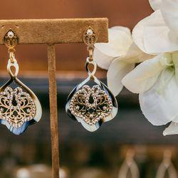 <b>LK Designs</b> tortoise earrings, $126.