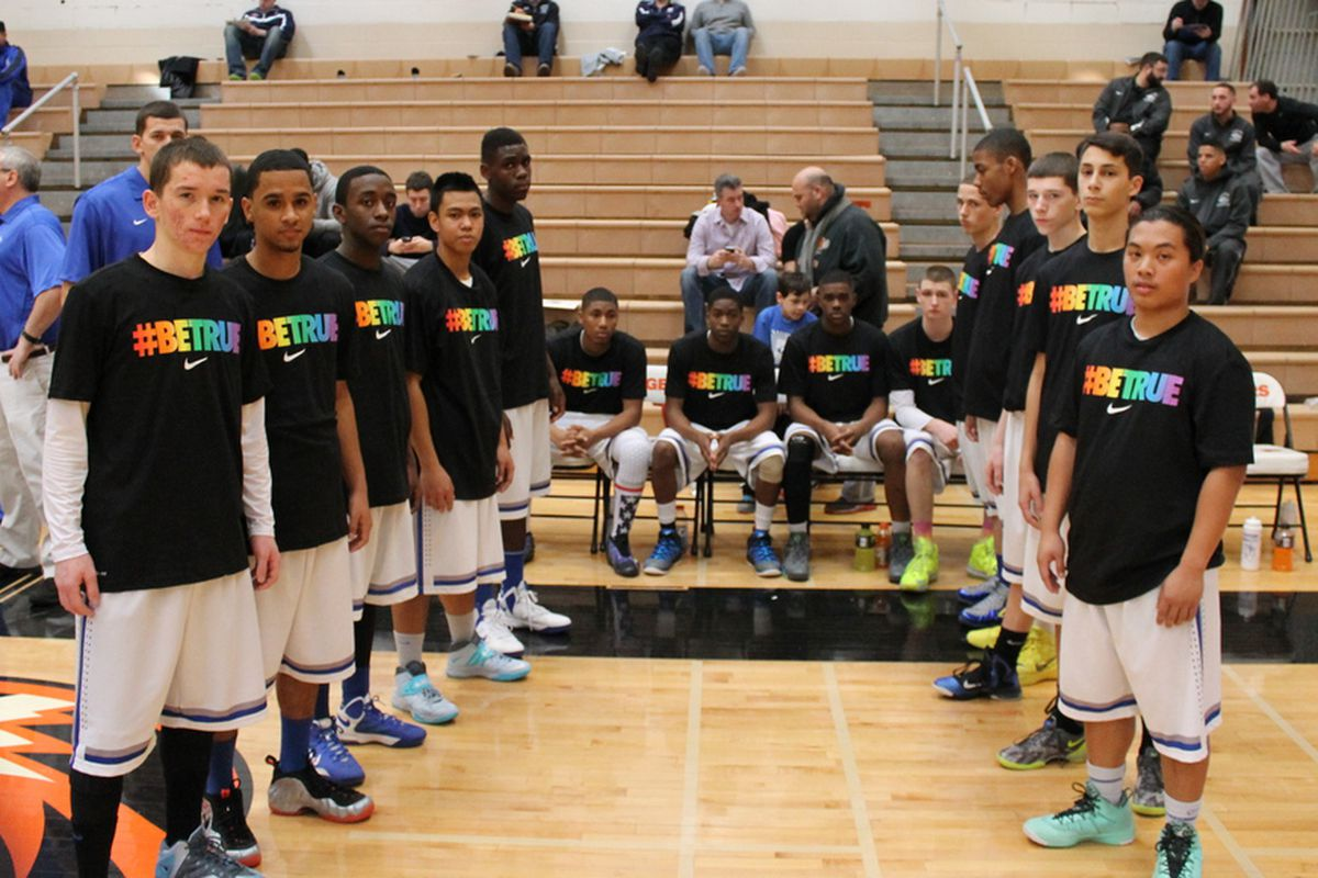 The Saunders High School basketball team has worn the #BeTrue colors regularly since coach Anthony Nicodemo came out as gay.