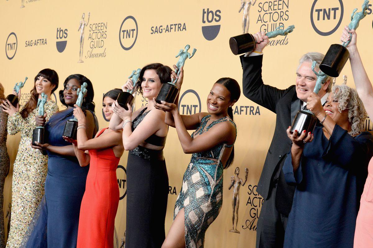 The Cast of Orange is the New Black celebrates their SAG award