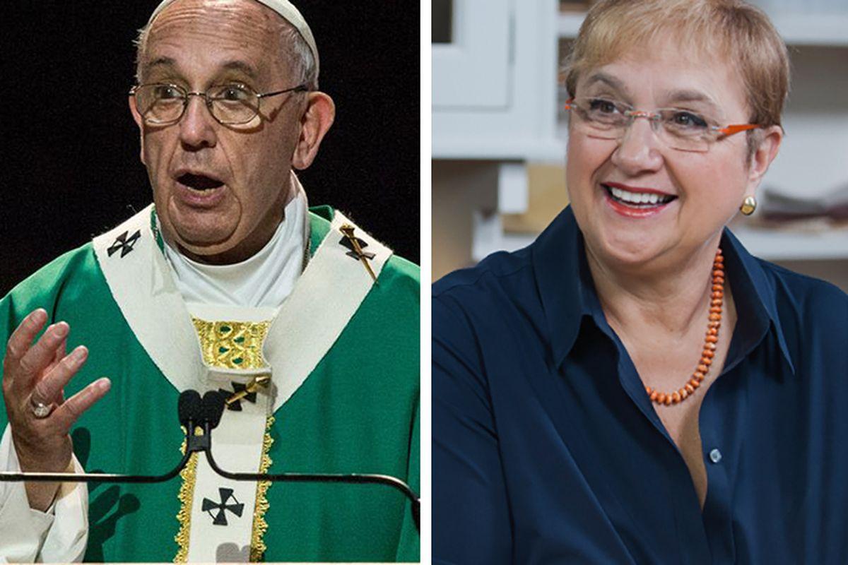 "[Pope Francis photo by Andrew Burton/Getty Images; Lidia Photo via <a href=""http://lidiasitaly.com/"">LidiaItaly.com]</a>"