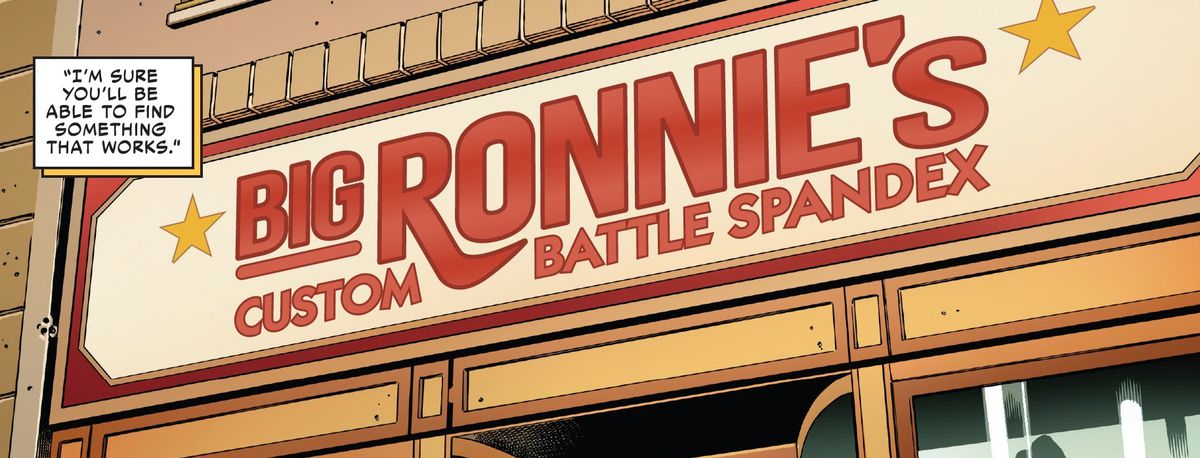 The storefront awning of Big Ronnie's Custom Battle Spandex, in Spider-Woman #1, Marvel Comis (2020).