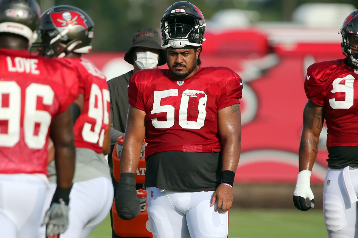 The Buccaneers Vita Vea (50) watches the action during the Tampa Bay Buccaneers Training Camp on August 17, 2020 at the AdventHealth Training Center in Tampa, Florida.