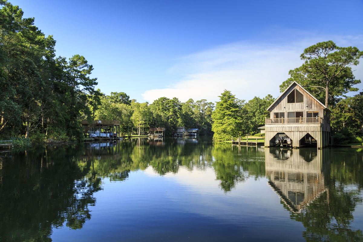 Scenic Magnolia River that leads to Gulf of Mexico in Southern Alabama, Magnolia Springs, Alabama