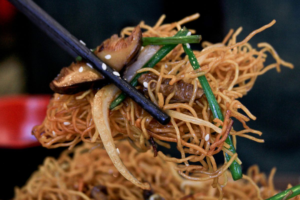 Soy sauce-fried noodles at King's Kitchen